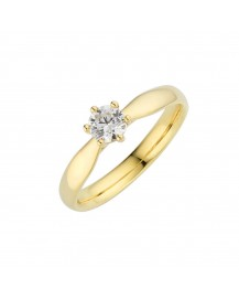 Classic Tapered Six Claw Solitaire Engagement Ring BK-006